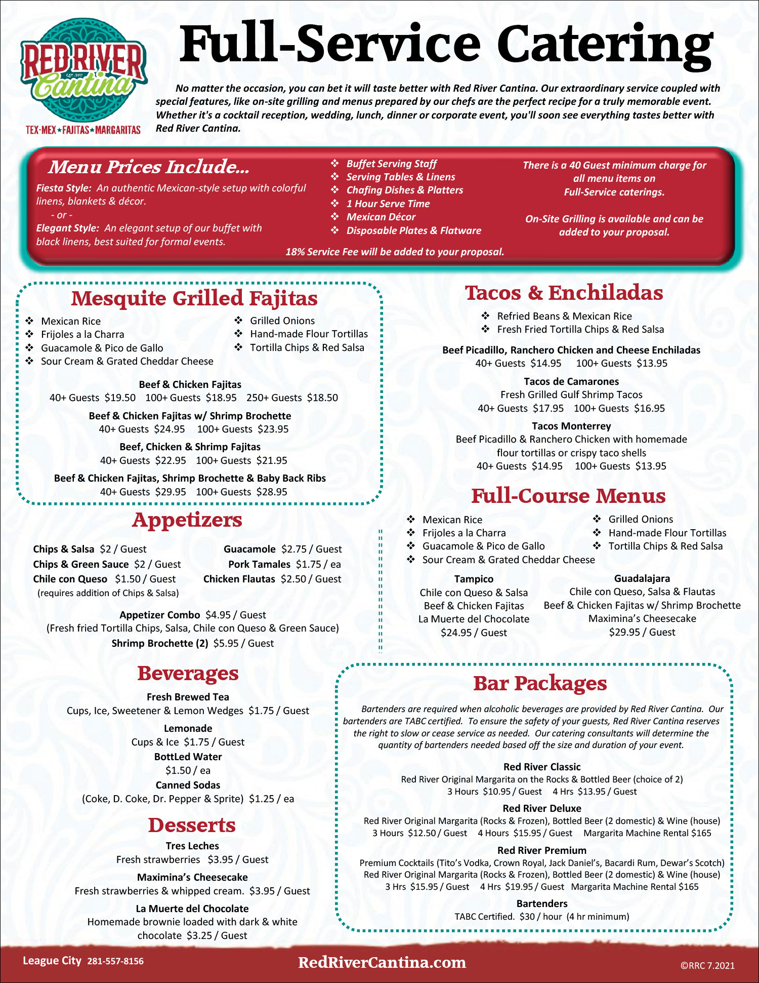 Red River Cantina Catering Menu Page 2